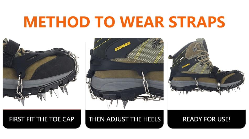 de neve, garras de corrente, cobertura de botas crampões