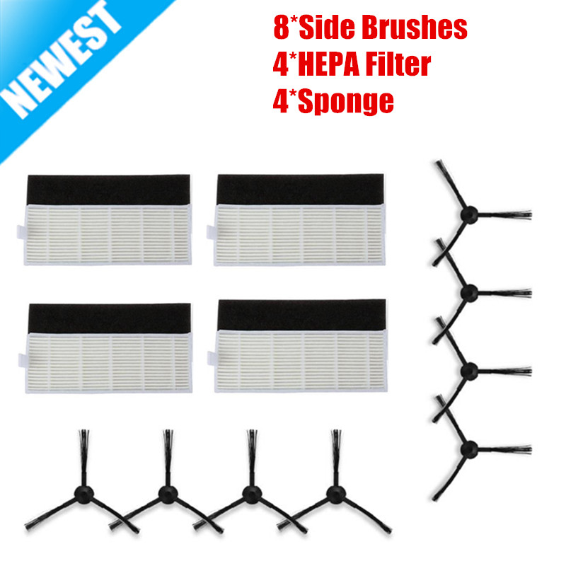 12PCS New 4*HEPA Filter+4*Sponge+8*Side Brushes for ILIFE a4 Robot Vacuum Cleaner Parts chuwi ilife a4 T4 cleaner parts for xshuai hxs g1 vacuum cleaner robot side brushes hepa filter mop kit