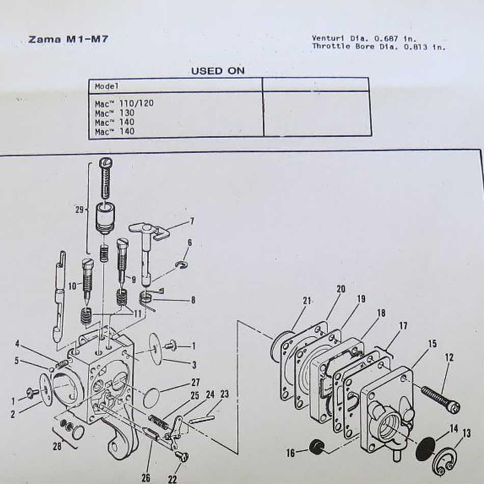 kelkong 1 set carb kit for zama m1m7 rb19 mcculloch chain saw mini mac 110 120 [ 950 x 950 Pixel ]