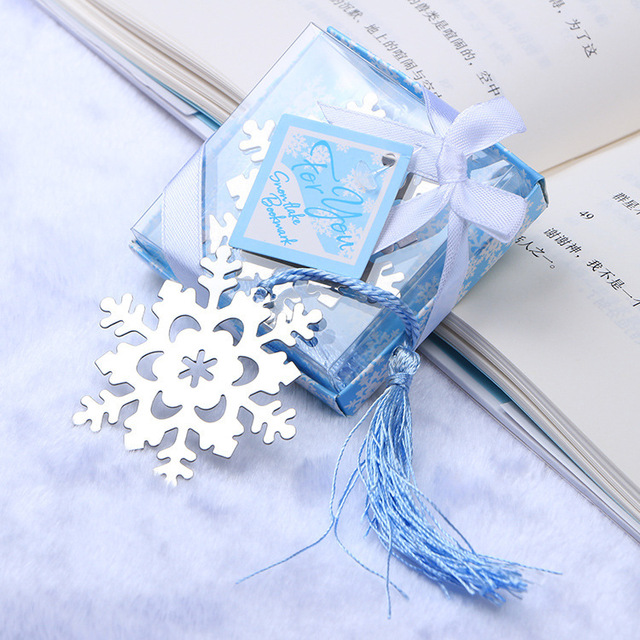 100pc Wholesale Birthday Christmas Door Return Gifts Wedding Favor Snowflake Bookmark With Tassel