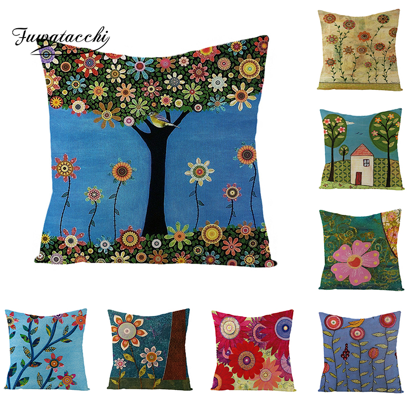 >Fuwatacchi Ranch View Cushion Cover Floral <font><b>Pink</b></font> Flower Green Tree <font><b>Throw</b></font> <font><b>Pillow</b></font> Cover Small Cabin Pillowcases Square 45X45