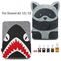 13inch Laptop Sleeve for Xiaomi Air 13.3 Air 12 Notebook Bag Women Men Cartoon Raccoon Shark Characters Laptop Bag with Keychain