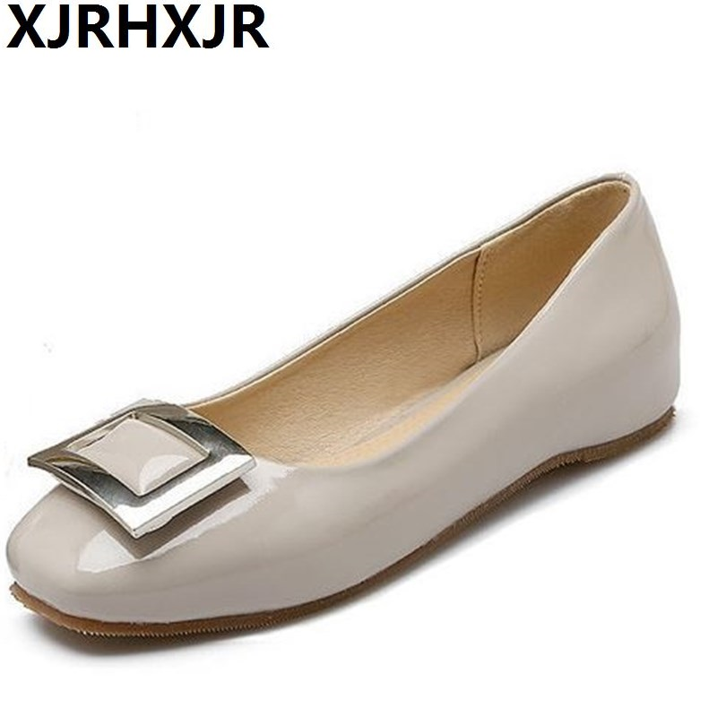 XJRHXJR Flats Shoes Woman Fashion Square Toe Patent Leather Shoes Ladies Casual Work Dress Shoes Flat Heel Plus Size 30-47 lankarin brand 2017 summer woman pointed toe flats ladies platform fashion rivet buckle strap flat shoes woman plus size