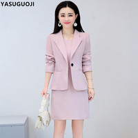 YASUGUOJI new autumn office lady solid color slim female dress suits single button blazer with knee length dress suit women LXF6