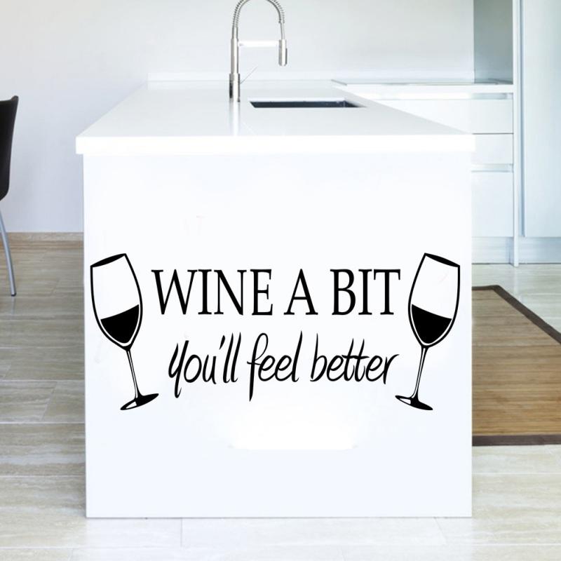 PVC Wandaufkleber Rotwein Glas WEIN Ein BISSCHEN Englisch Abnehmbare Hause Knste Dinning Kche Wohnzimmer Wand