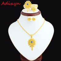 New Blue Stone Ethiopian Jewelry Sets 24K Gold Plated Necklace Pendant Earring Ring Bangle African Women