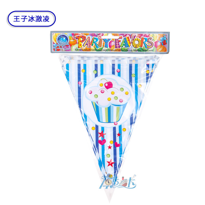 12pcs Cake princess theme Cartoon Pape Flags Banners kids children happy Birthday Party Decoration in Banners Streamers Confetti from Home Garden