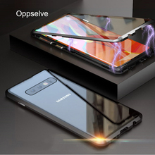Oppselve 360 Double Sided Magnetic Adsorption Case For Samsung S10 S9 S8 Plus + Tempered Glass Magnet Cover Note 9 8