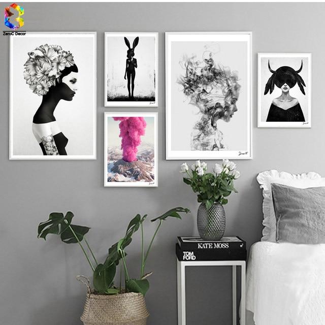 Nordic Cuadros Poster Und Drucke Schwarz Weiß Wandkunst Leinwand Malerei  Mädchen Bild Für Wohnzimmer Skandinavischen Wohnkultur