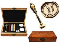 Vintage Scorpion Custom Luxury Wax Seal Sealing Stamp Brass Peacock Metal Handle Sticks Melting Spoon Wood