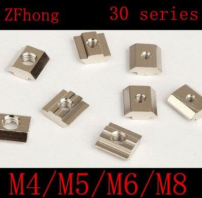10PCS M4 M5 M6 M8 T Sliding Nut Block Zinc Plated Carbon Steel Aluminum Accessories For 4040 Aluminum Profile