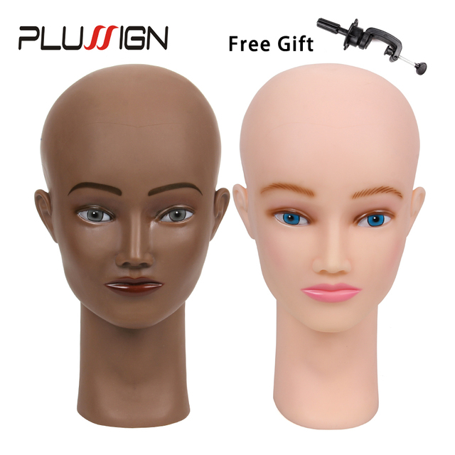 Bald Mannequin Head For Making Wigs With Stand 21 Inch Rubber