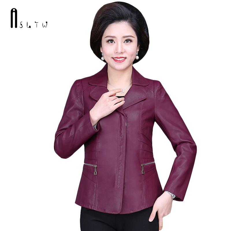 ASLTW XL 6XL Plus Size Leather Coat Women New Spring Fashion Turn Down Collar Solid Jacket