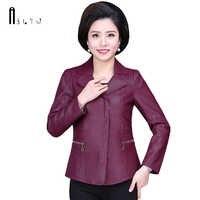 ASLTW XL-6XL Plus Size Leather Coat Women New Spring Fashion Turn Down Collar Solid Jacket Women Zipper Pu Leather Jackets