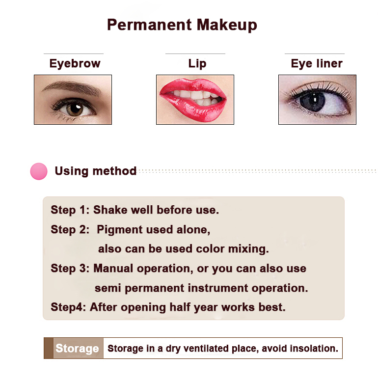 High Quality 5pcs 15ml Professional Cosmetic Manufacturer Microblading Pigment Permanent Makeup Eyebrow and Lip Tattoo Ink 27