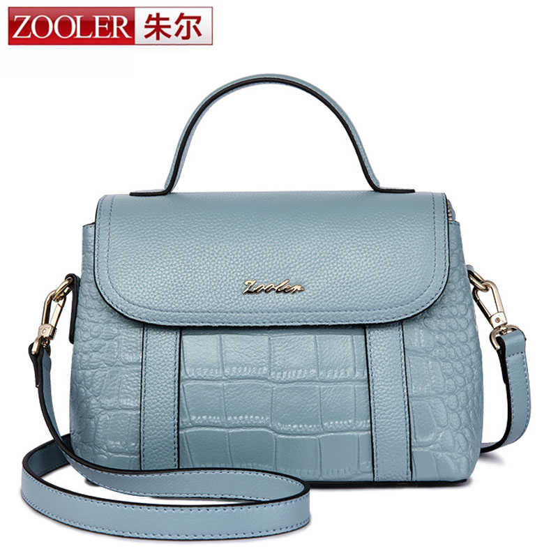ZOOLER Female Crocodile Pattern Cover Boston Tote Women Genuine Leather Handbag Natural Cowhide Cross body Shoulder Bag bolsas 2016 fashion spring and summer crocodile pattern japanned leather patent leather handbag one shoulder cross body bag for women