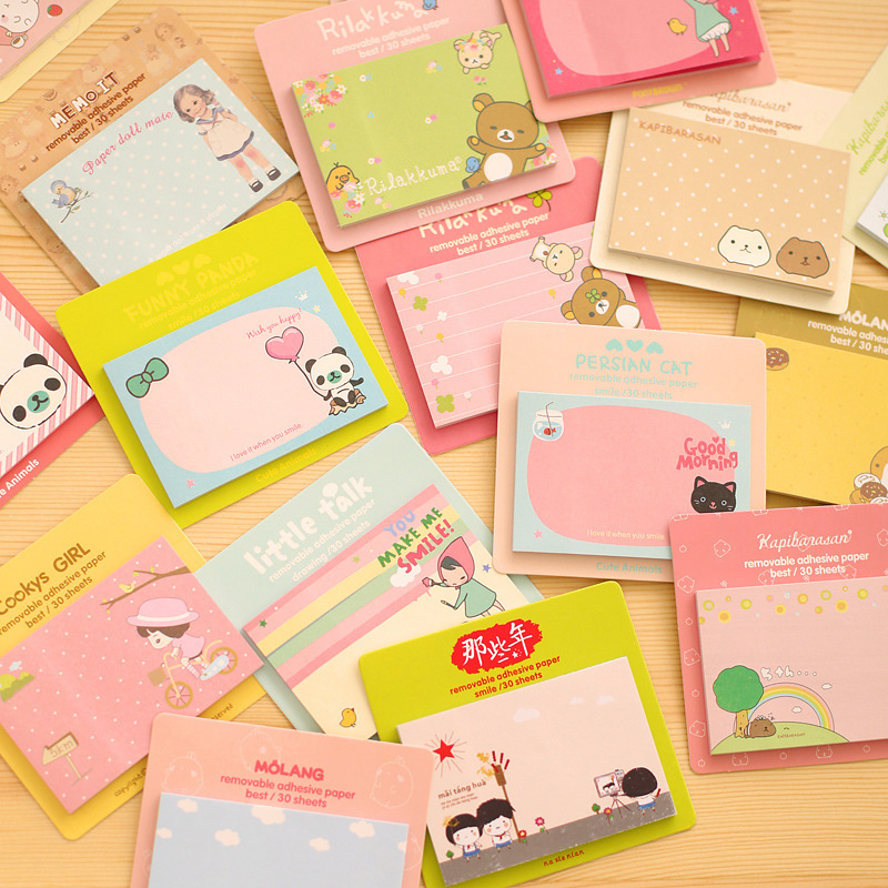 1 pcs Kawaii Stationery Cute Animal rilakkuma panda Girl Memo Pad paper Sticky Notes Post It Decoration Diary Stickers kawaii post it papelaria stationery notes posted n times stickers sticky notes paper cute gudetama school stationary memo pad