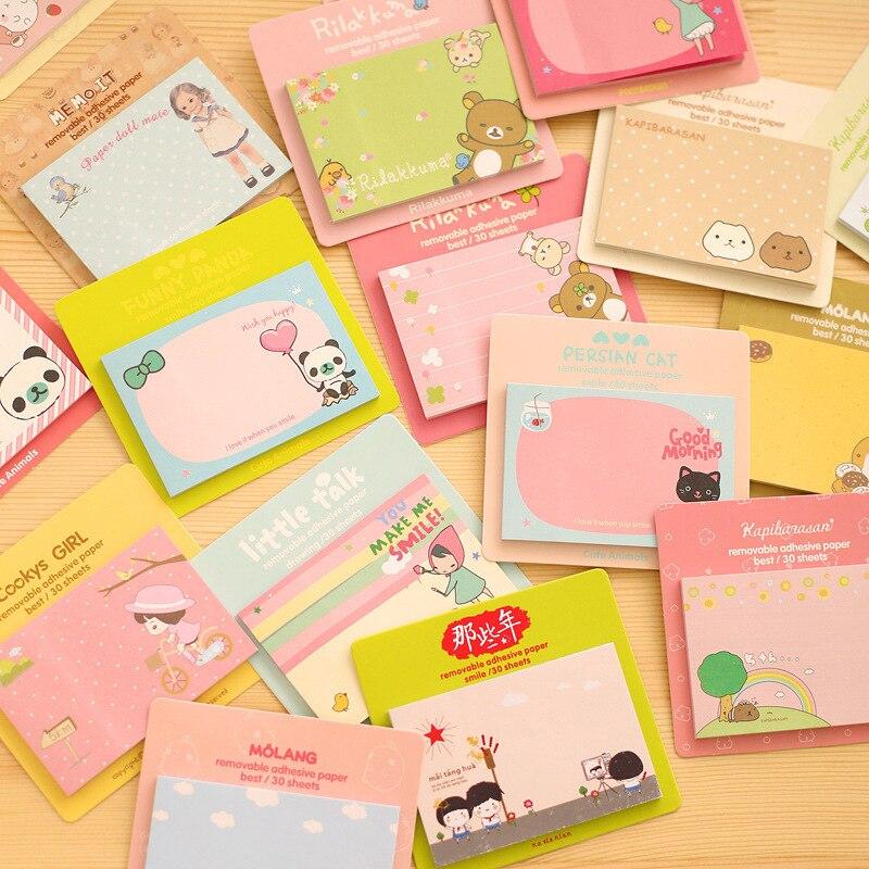 1 pcs Kawaii Stationery Cute Animal rilakkuma panda Girl Memo Pad paper Sticky Notes Post It Decoration Diary Stickers