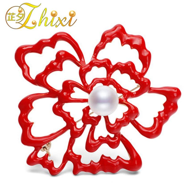 ZHIXI Brosche Für Frauen Edlen schmuck Weiße Natürliche Perle - Edlen Schmuck - Foto 1