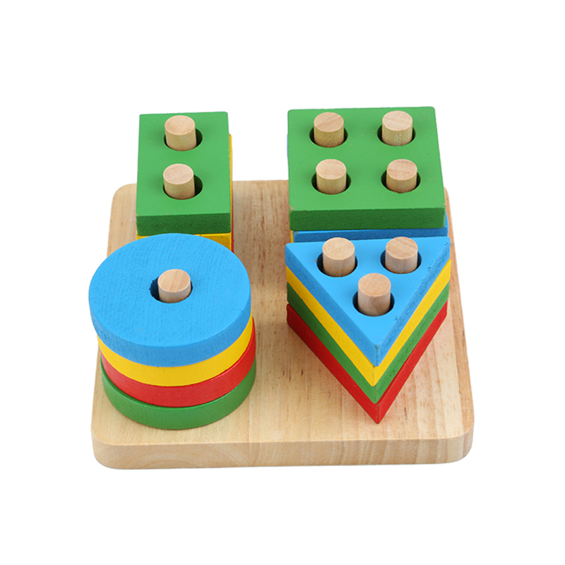 Baby Toys Educational Wooden Colorful Geometric Sorting Board Montessori Kids Educational Toys Building Puzzle Child Gift