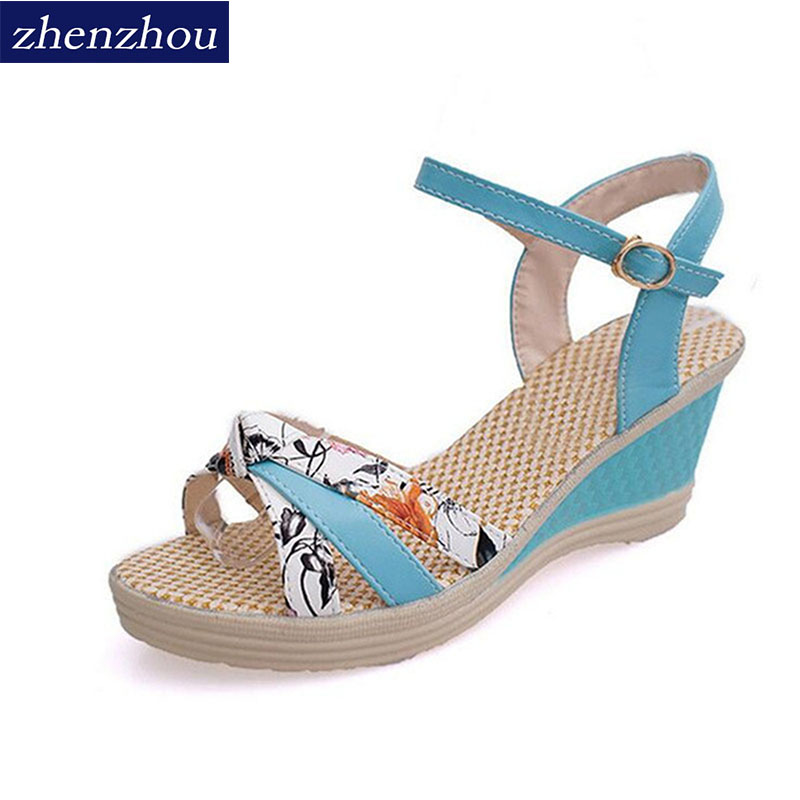ZHENZHOU Women's shoes Summer style Women sandals wedge female sandals high platform wedges platform open toe platform shoes nemaone new 2017 women sandals summer style shoes woman platform sandals women casual open toe wedges sandals women shoes