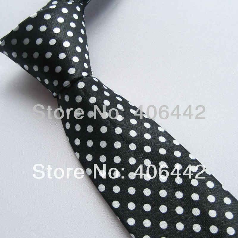 """2 """"polyester SLIM tie Hitam dengan Putih Polka Dots Spots SEMPIT DASI KURUS tie Mode Dasi untuk mencocokkan kemeja"""
