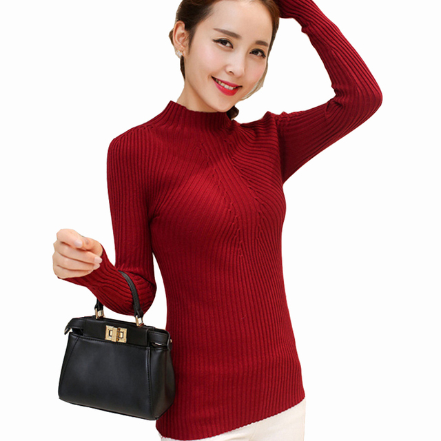 Fashion 2017 Women Autumn Winter Sweaters High Elastic Slim Warm Tight Bottoming Sweater Women Elegant Knitted Pullover SW428