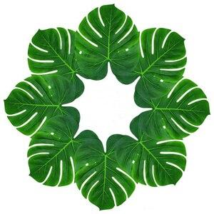 Image 2 - 빈티지 웨딩 장식 테이블 천으로 공급 12 개/몫 패브릭 녹색 인공 팜 잎 하와이 테마 파티 장식, Q