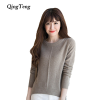 נשים סוודר 100% קשמיר לסרוג סוודרים 2016 החדש O צוואר בגדים עבים החורף חם צמרות מכירה חמה חצאיות גבירותיי ילדה בגדים