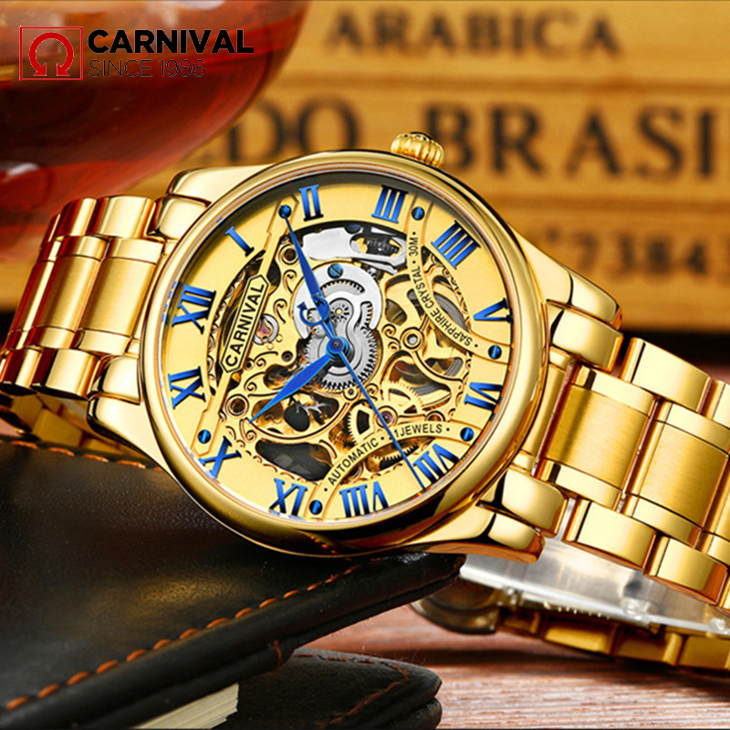 Hot Sell 2018 Skeleton Watch Men Automatic Mechanical Watch Gold Stainless Steel Bracelet Man Watch Mens Watch Top Brand Luxury wholesale wilon mens stainless steel mechanical skeleton watch