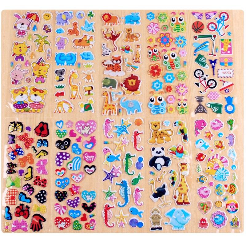 10 feuilles différentes autocollants faciles à poser pour animaux de compagnie dessin animé enfants autocollants jouets Emoji PVC Scrapbook cadeaux pour enfants