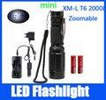 Cree-xml XM-L T6 2000 люмен 5 режимов из светодиодов Zoomable фонарик портативный флэш-фонарь факел охота лампы + 2 * 18650 + зарядное устройство