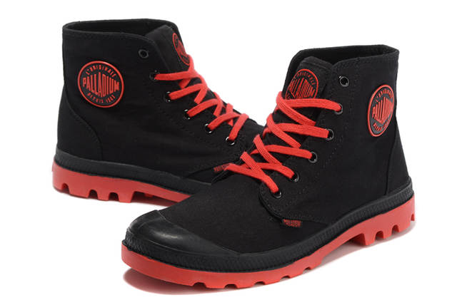 billigare fri leverans helt ny PALLADIUM Pampa Classic Black and red Canvas Shoe Ankle Botas ...