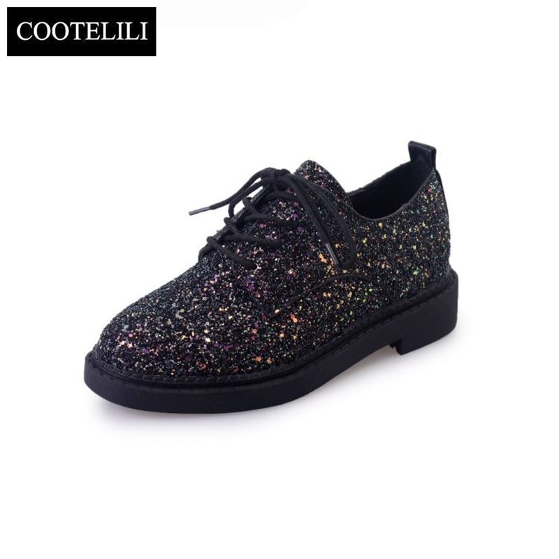 COOTELILI 35-39 Spring Casual Solid Flats Women Shoes Low Heels Glitter Girls Oxfords Round Toe Lace-Up Leisure Ladies Shoes ladies leisure casual flats shoes low heels lady loafers sexy spring women brand footwear shoes size 34 39 p16171