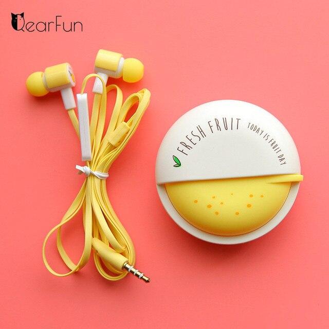 素敵な果物のキャンディーカラフルなイヤホン 3.5 ミリメートルで、耳マイク電話 Xiaomi 女の子子供子供学生のための MP3