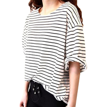 Women s T Shirt New 2017 Summer High Quality Half Sleeve O neck Striped Loose Casual