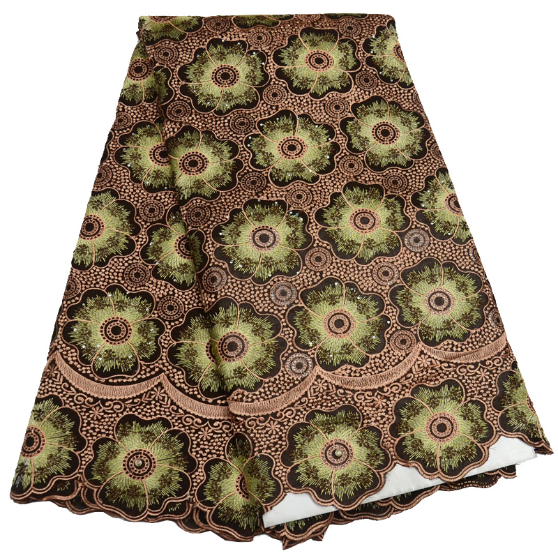 Free shipping (5yards/pc) wholesales African cotton lace fabric brown Swiss voile lace fabric with embroidery for dress CLP822Free shipping (5yards/pc) wholesales African cotton lace fabric brown Swiss voile lace fabric with embroidery for dress CLP822