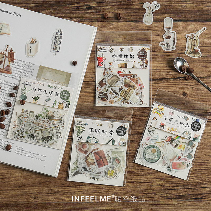 40 Pcs/Bag New Vintage Natural Life Mini Washi Paper Sticker Decoration Stickers DIY Diary Scrapbooking Planner Label Sticker