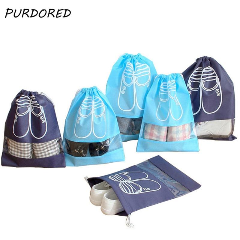 PURDORED 2 Pcs/set Waterproof Shoes Bag Portable Drawstring Bag Organizer Travel Non-Woven Laundry Dustproof Shoes Cover