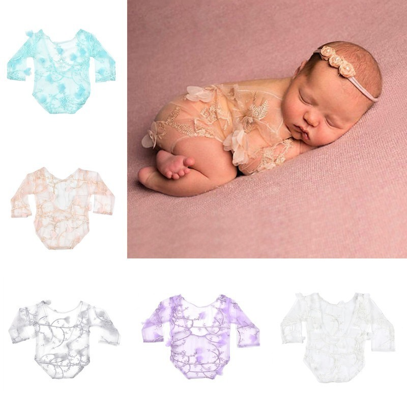Newborn Photography Props Accessories Baby Photography Clothing Baby Girl Net Yarn Embroidery Romper Baby Photo Props Jumpsuits