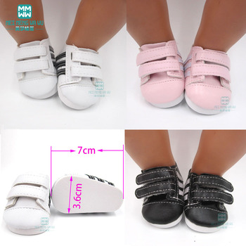newest brown color doll lace martin boots high quality leather doll shoes 7cm for 18 inch american and 43 new baby dolls toy Mini 7cm Baby white sneakers shoes for dolls fits 43 cm toy new born dolls accessories and American doll