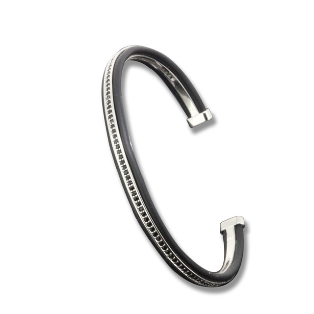 Fashion Bangles Waterproof Silver Cuff Bracelet Micro Pave Black Zirconia Leather Bangle Luxury Adjustable Size for Men Women