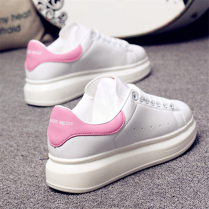 D KNIGHT Brand Women Casual White Shoes 2019 Spring Winter Women Flats Platform Shoes Fashion Lace-Up Women Sneakers Big Size 44 (5)