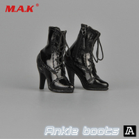 1 6 Female Figure Shoes Model ZY16 28 High Heels Boots Model With Foot Black For