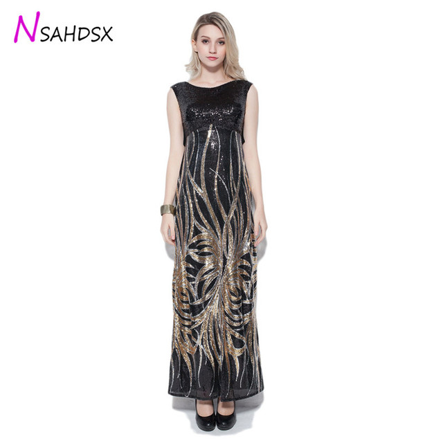 Embroidered Sequin Empire Banquet Annual Evening Party Summer Dress Female Elegant Fashion Sleeveless Floor-length Vestidos