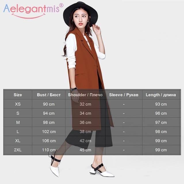 Aelegantmis Fashion Pockets Long Blazer Vest Women Autumn Waistcoat Turn-down Collar Sleeveless Jacket Elegant Office Lady Coat 2