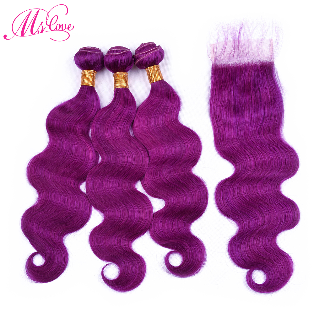 Ms Love Pre Colored Purple Hair Bundles With Lace Closure Body Wave Remy Brazilian Human Hair Bundles With Closure
