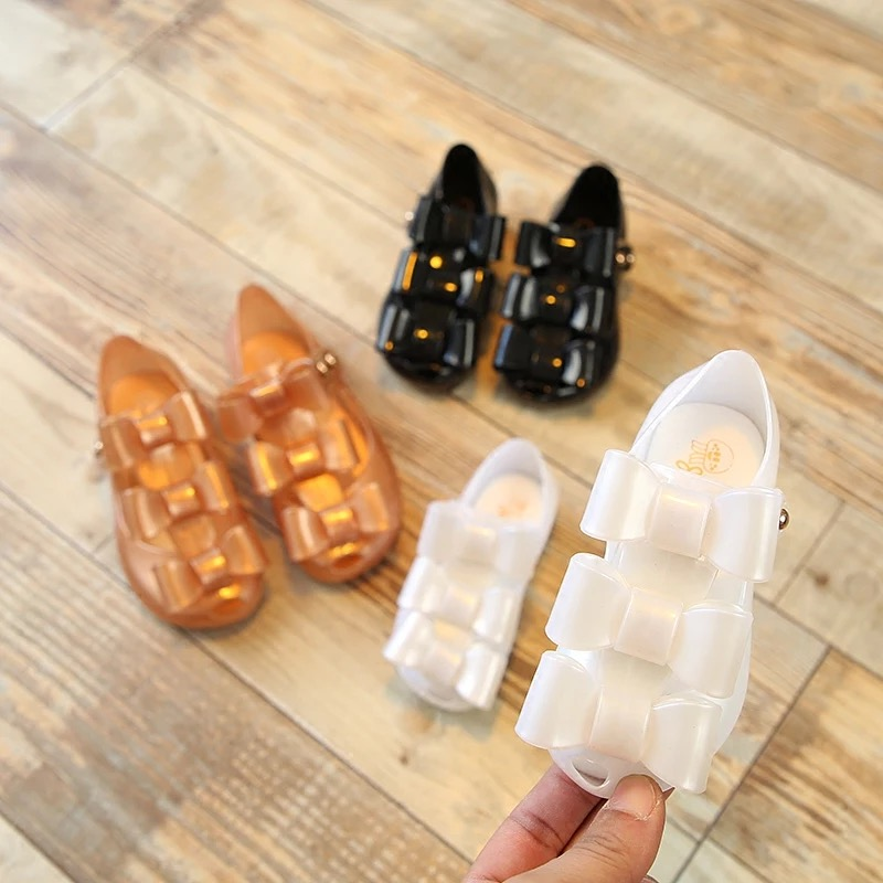 2018 spring Mini Melissa Girls Princess Shoes children jelly Sandals Bow soft Shoes Baby Shoes Jelly Sandals For Kids 13-18cm