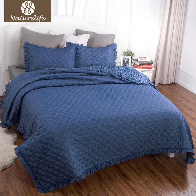 Naturelife Plaid Quilt Coverlet Set Bedspread Small Flowers And Leaves Dark  Blue Patchwork Design Bedding Warm