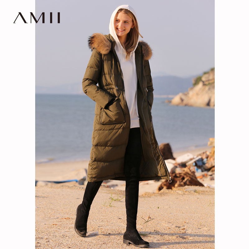 Amii 90% White Duck   Down     Coat   Women winter 2018 Casual Real Fur Collar Thick Waterproof Plus Size Hooded Long   Down   Jackets